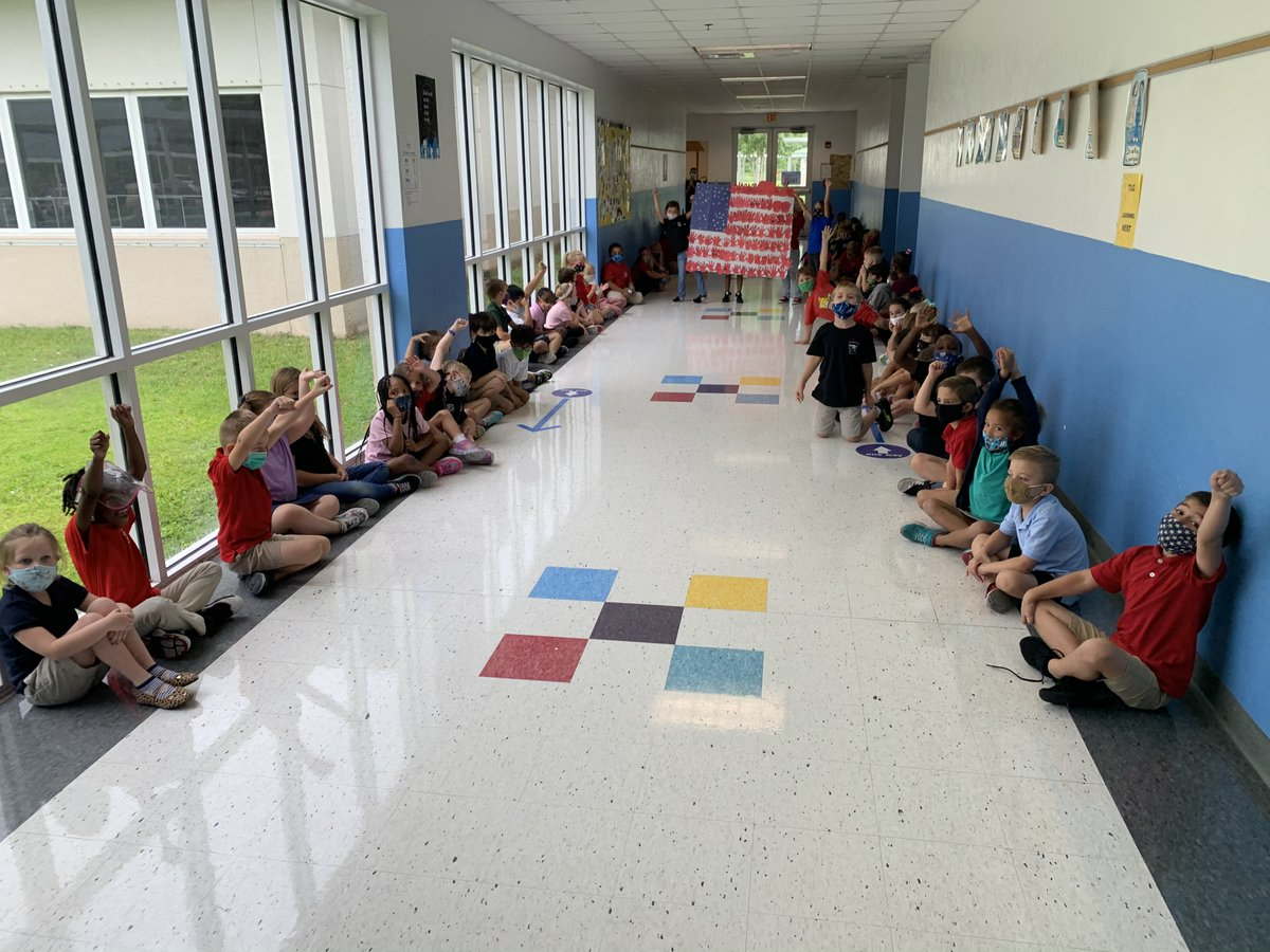 First grade students at Treasure Coast Elementary created an American Flag for Celebrate Freedom Week.
