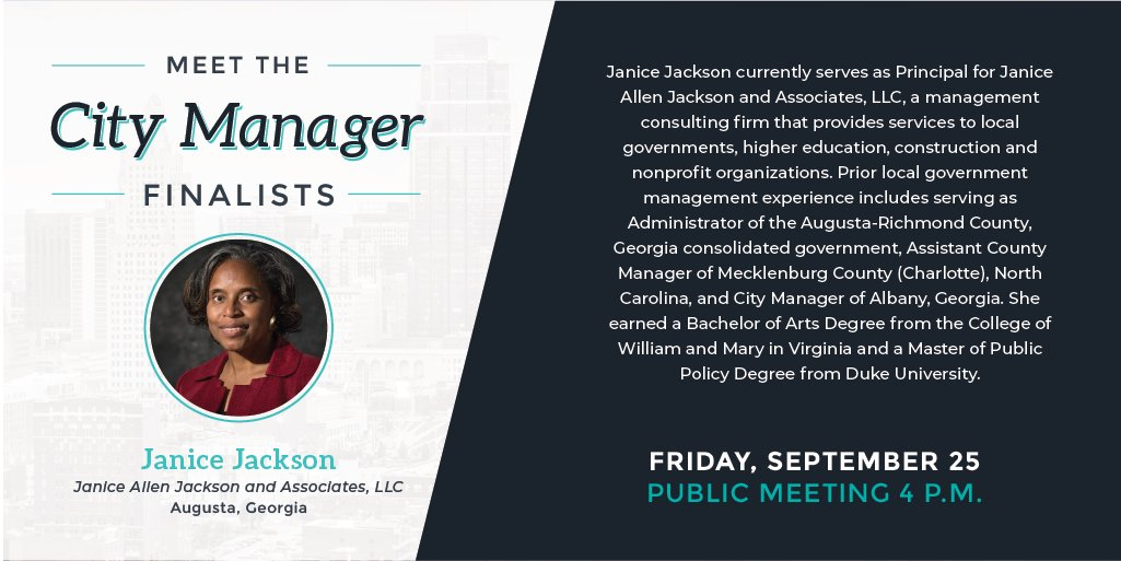 #HappeningSoon: #TuneIn from 4-5 p.m. For a Community forum with #CityManager Finalist, Janice Jackson, Watch now KCMO Channel 2, YouTube (), or on Facebook Live (). #KCMO #KansasCity
