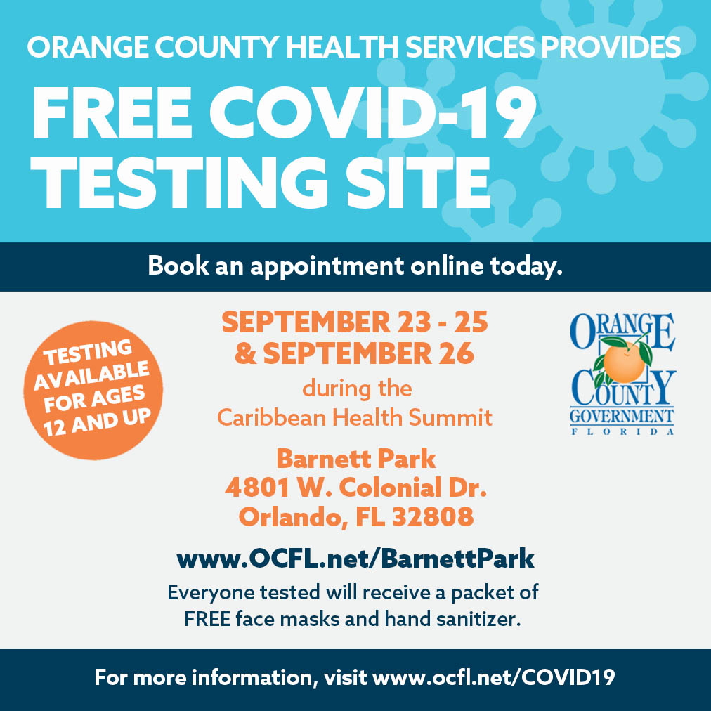 Reminder: Testing available Saturday at Barnett Park @OrangeCoParksFL from 10 a.m. to 2 p.m. Visit  for an appointment or walk-ups welcome.