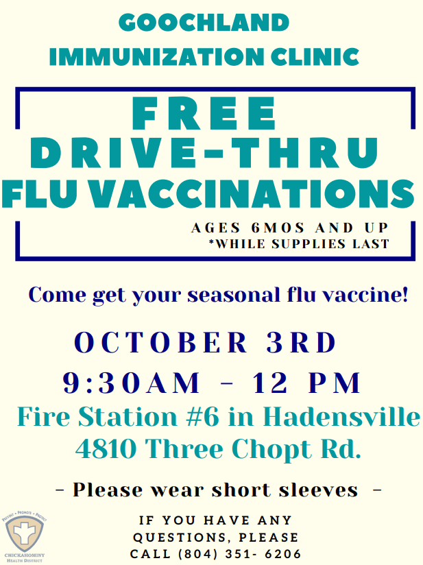 A free seasonal flu vaccine clinic is scheduled to occur in Goochland County on Saturday, October 3rd from 9:30 a.m. to 12:00 p.m. while supplies last.  For more information please visit . #GoochlandCounty