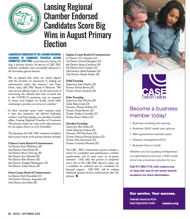 #ICYMI: The Lansing Regional Chamber endorsed candidates scored big wins in the August Primary! 🗳️  Learn more & view the full bipartisan list of LRC-PAC endorsed candidates that secured victory in the primary election on page 10 of FOCUS, available here: