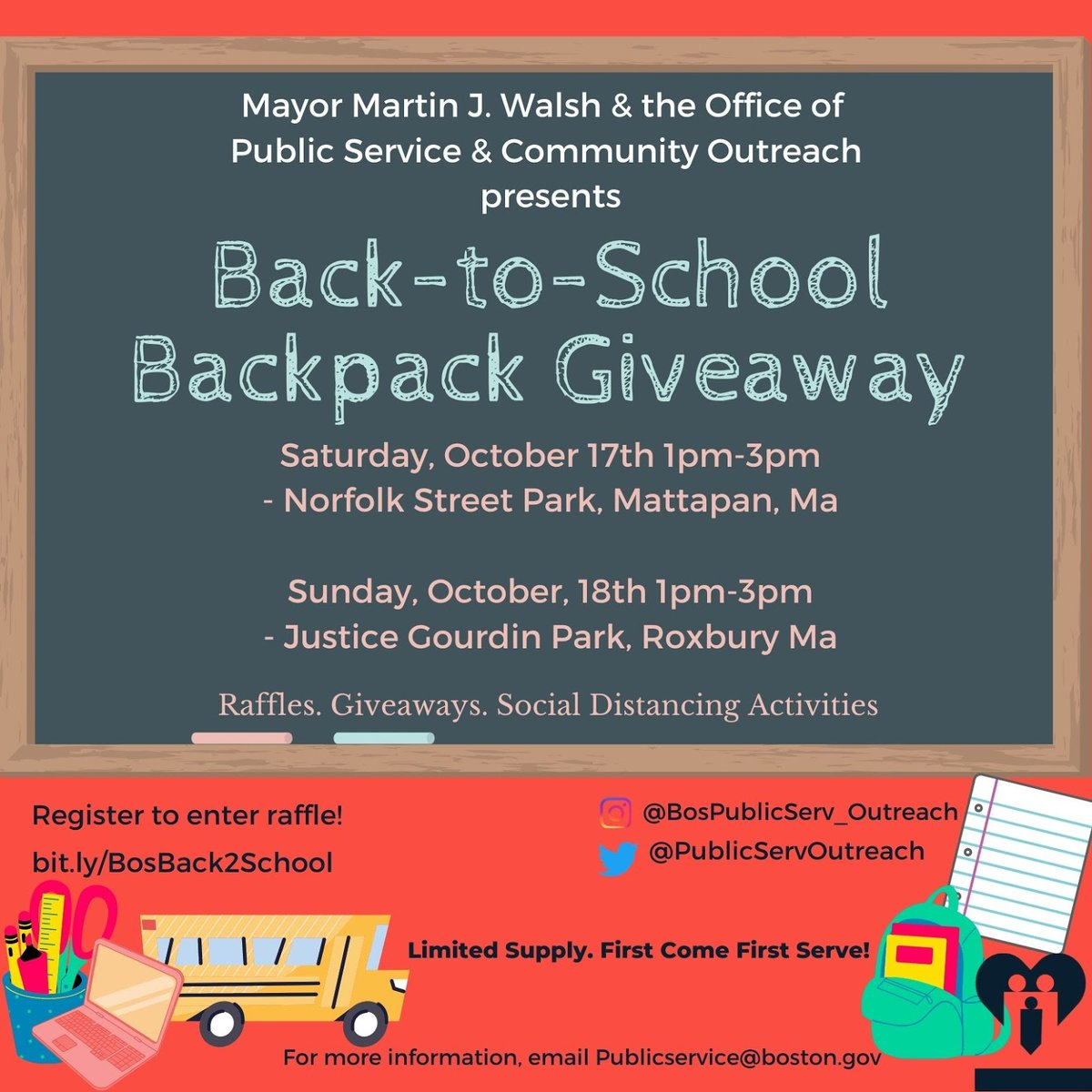 Calling all families of @BostonSchools students! Do you need school supplies for the new school year? Join @BosServOutreach at one of their back-to-school kickoff events in October, where they're handing out backpacks full of supplies: