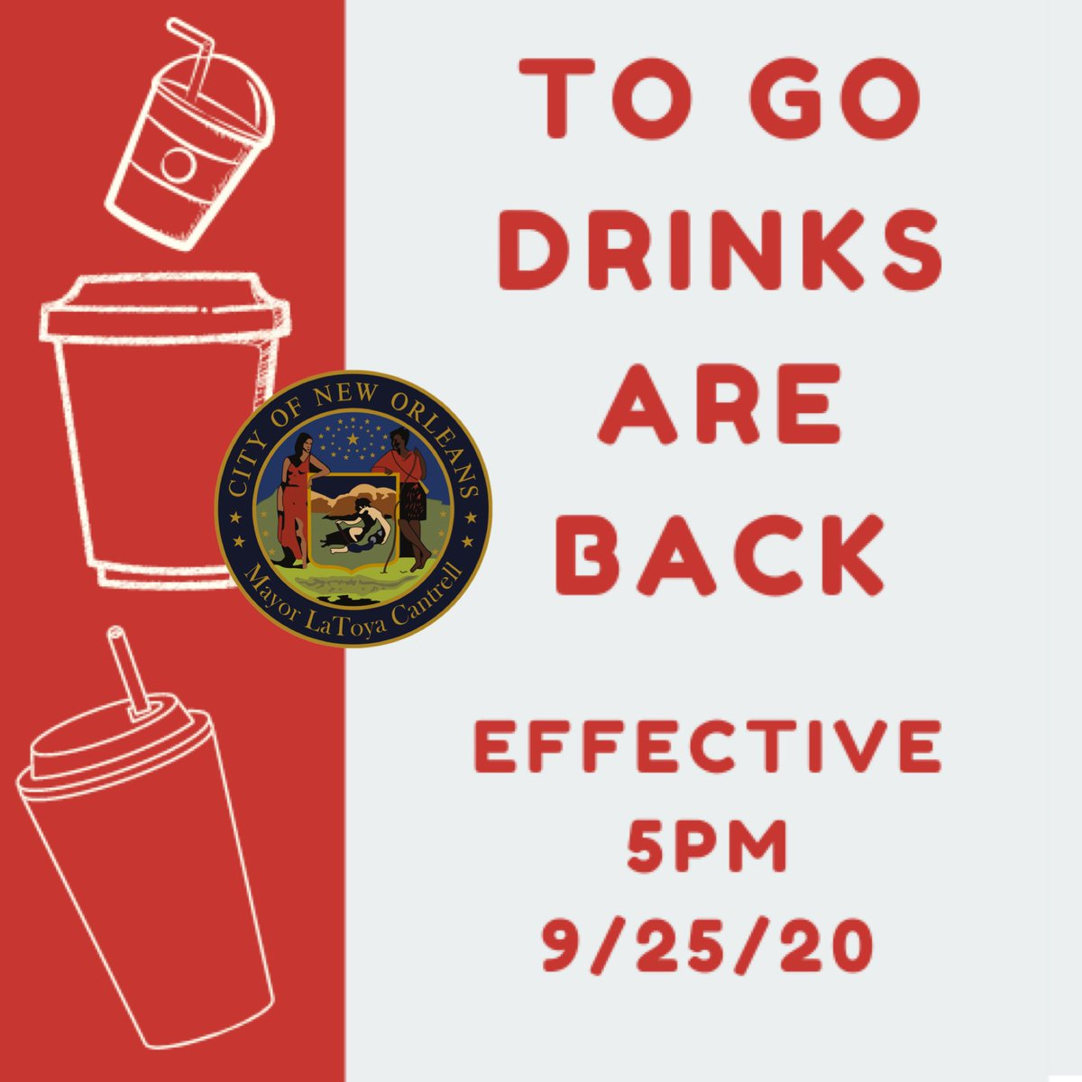 Effective 5 pm tonight, restaurants in Orleans Parish may resume serving alcoholic beverages through drive-thru, takeout and curbside pickup options between the hours of 8 a.m. and 11 p.m. See updated guidelines at