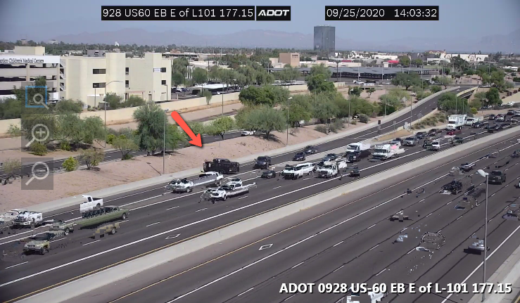 US 60 WB: A crash is blocking the bottom of the Dobson on-ramp. #phxtraffic