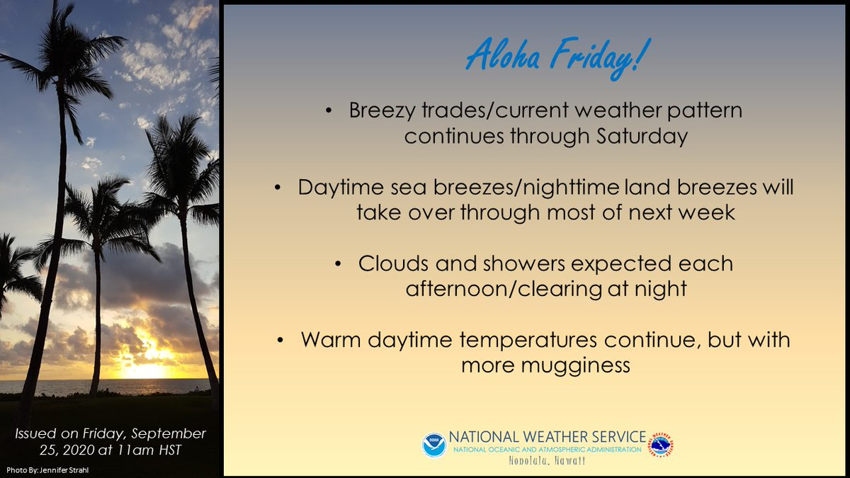 #AlohaFriday forecast through next week. Enjoy the trade winds while they last #hiwx #humidityrising