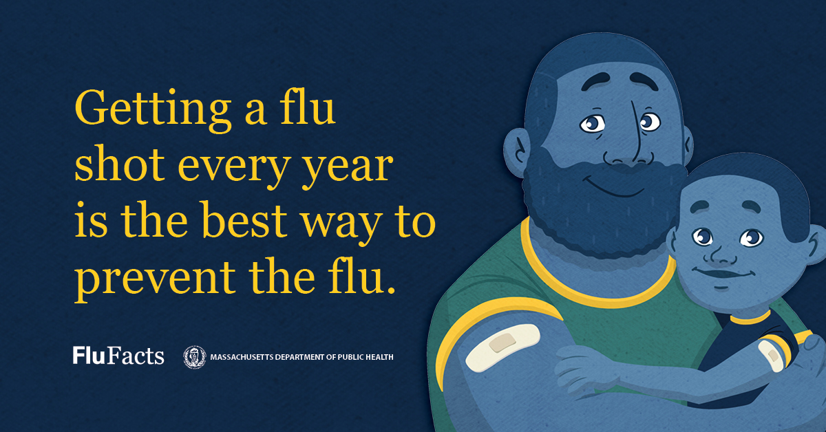 Flu season is here. Get your flu shot to help protect you and your family from getting sick. Visit  for more info. #FluFacts