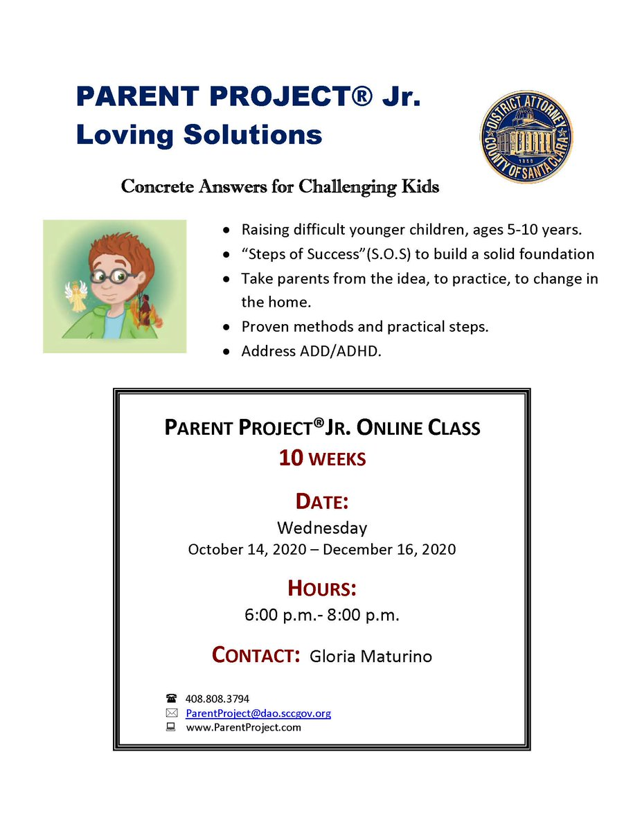 Parent Project Jr. – Loving Solutions aims to help parents raising challenging children ages 5 to 10-years-old build a solid foundation. Classes start on Oct. 14th in English and October 20th in Español. Call (408) 808-3794 for more info.