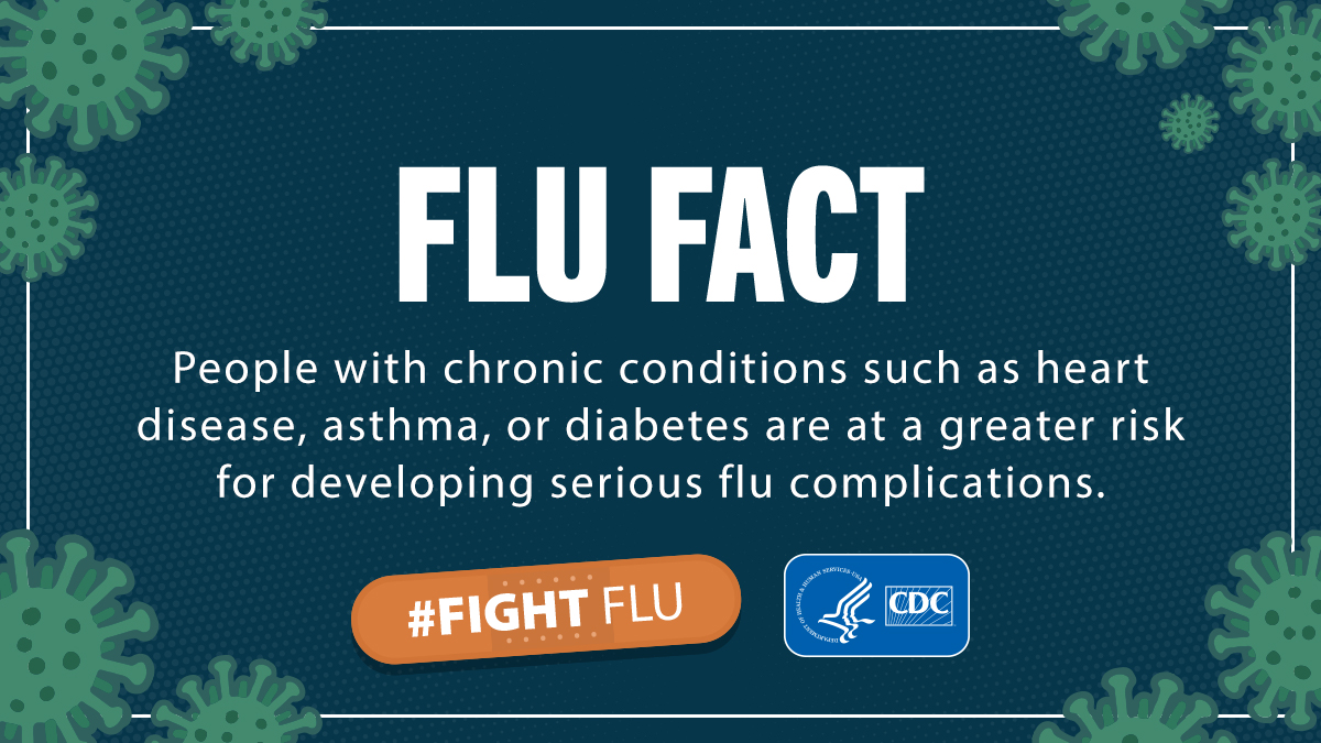 Flu can make chronic health problems worse.   #Fluvaccine is the best protection from #flu and its potentially serious complications. Find out what groups of people are at high risk for complications: