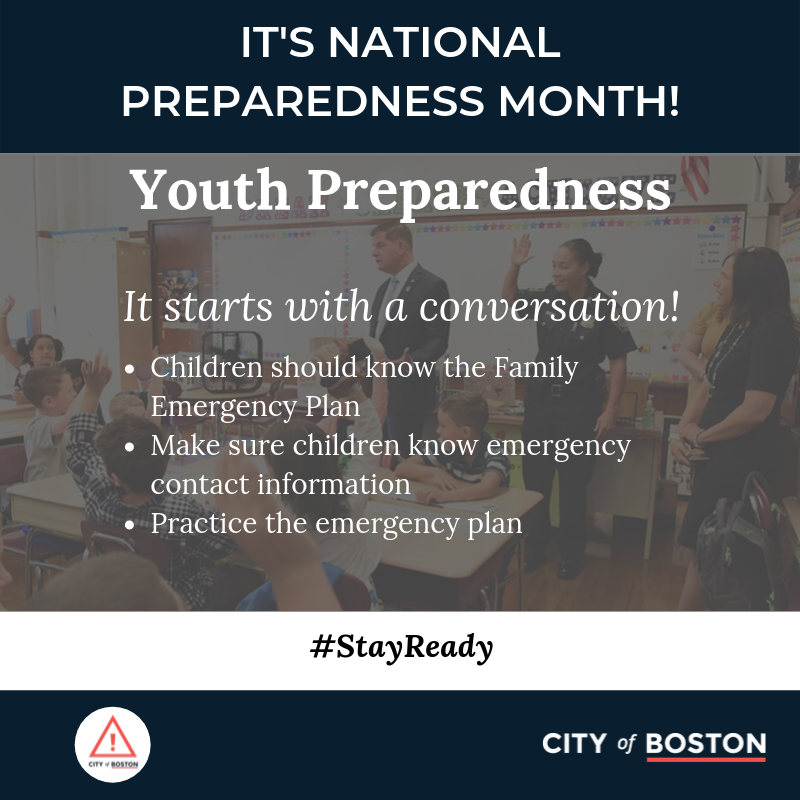 It's important to include kids in the disaster planning process. Review your family emergency plan together so that they know what to do even if you are not there:  #StayReady #EmergenciesesDontWait #NationalPreparednessMonth