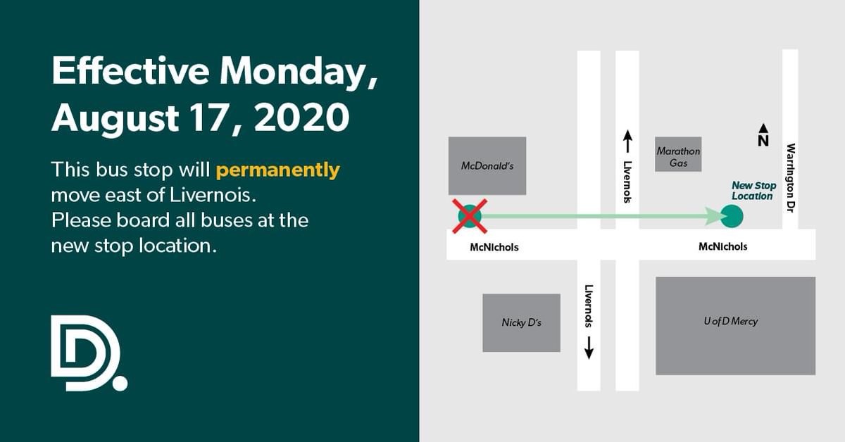 ICYMI: The DDOT bus stop located at Westbound McNichols and Livernois has permanently moved east of Livernois due to the McNichols Streetscape Project.