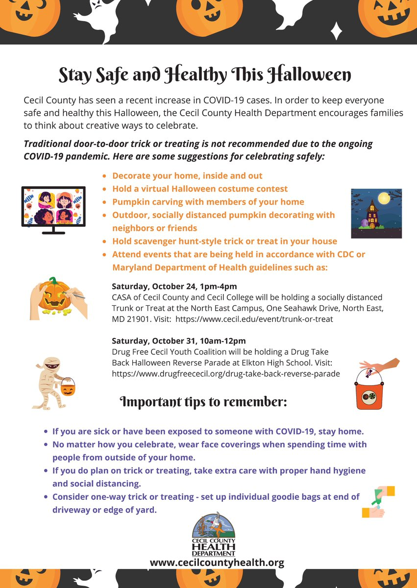 Regarding Halloween in Cecil Co...from Health Officer Lauren Levy: Stay Safe & Healthy this Halloween For more info on how to celebrate safely, please visit: . Thank you for helping to keep our community safe! #HalloweenInCecil @CecilCoGov @CecilCoHealth