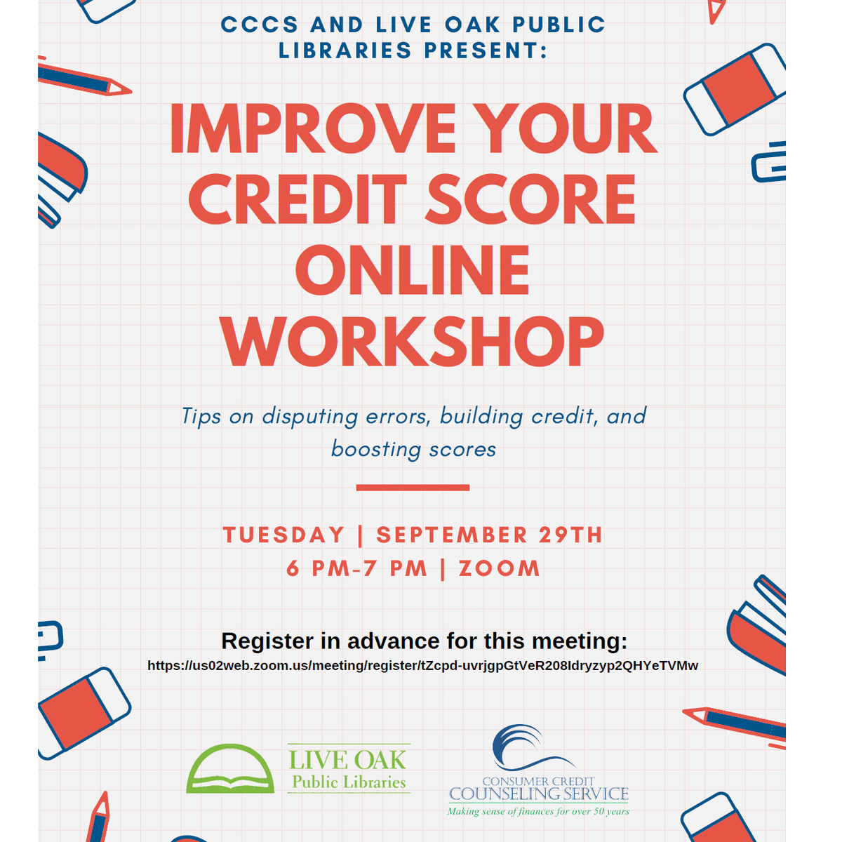 How is your credit score? @CCCS_Savannah is here to help! Register for this upcoming online class >  TUE SEP 29 | 6 PM - 7 PM | Virtual via Zoom