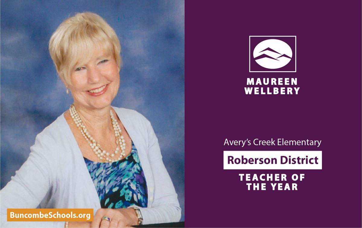 Veteran second grade teacher Maureen Wellbery of @AverysCreekRams is our 2021 Roberson District Teacher of the Year!   Learn More:   #WeAreBCS #BCS #BCSadvantage #Asheville #AVL #AverysCreek #WeAreTCR #GoRams #RobersonPride #NCpublicschools #828isgreat #WNC