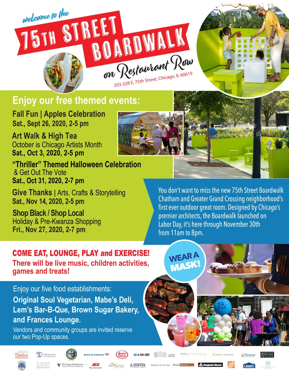 Don't miss the new 75th Street Boardwalk in Chatham and Greater Grand Crossing neighborhood's first ever outdoor great room! Check out the upcoming events!