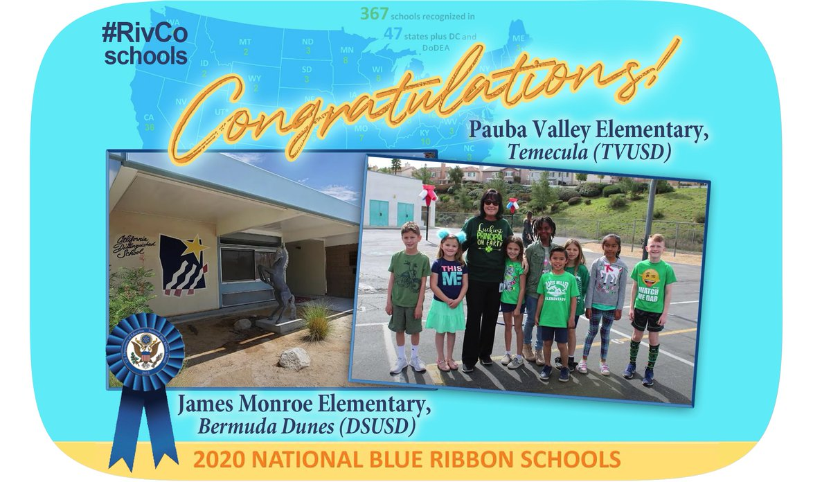 Congratulations @DesertSandsUSD James Monroe Elementary & @TVUSD Pauba Valley Elementary for being selected as @usedgov 2020 National Blue Ribbon School #NBRS2020! 🏆👏🎉 @KristieJoiner @PaubaValleyPTA