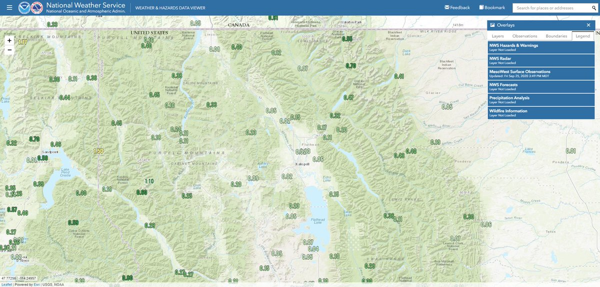 Before the next round of rain really gets going, here are the 48 hour precipitation totals from around the region. As expected, the greatest amounts are in the terrain & along the #Idaho #Montana border.  More rain is on the way tonight!  #MTwx #IDwx