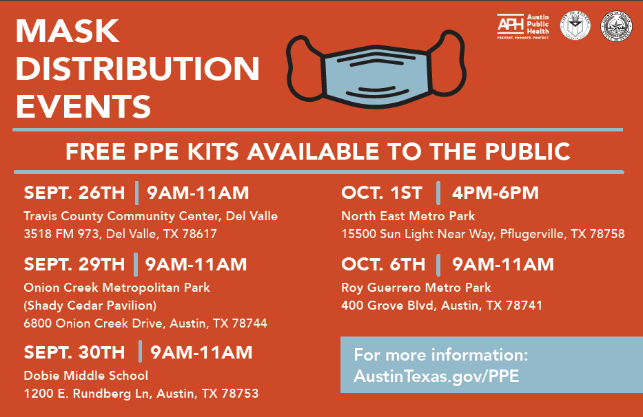 Do you need masks or hand sanitizer?  @AusPublicHealth @CommUnityCareTX & @CentralHealthTX will be in Del Valle tomorrow (9/26) for a FREE PPE distribution event.  📅 Saturday 9/26  ⏰ 9 a.m. - 11 a.m. 📍 3518 FM 973, Del Valle  ➡️ Info about these events:
