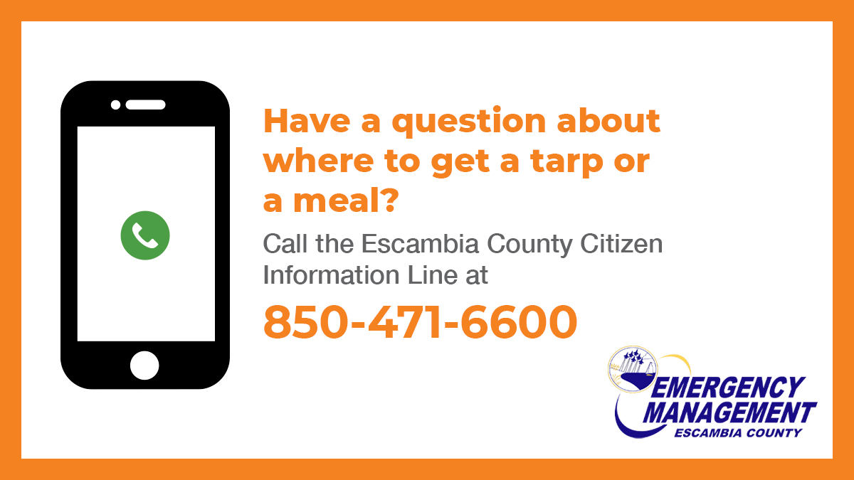 ❗️Have a question about where to get a tarp or a meal? 👀 Call the Escambia County Citizen Information Line!