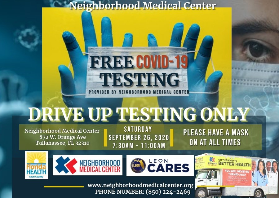 NEW! COVID-19 drive up testing site this Saturday, Sept. 26 @ Neighborhood Medical Center (872 W. Orange Ave). This drive up testing site is open from 7:30 a.m. to 11 a.m. to all patients both symptomatic and asymptomatic. No cost, and no referrals needed.