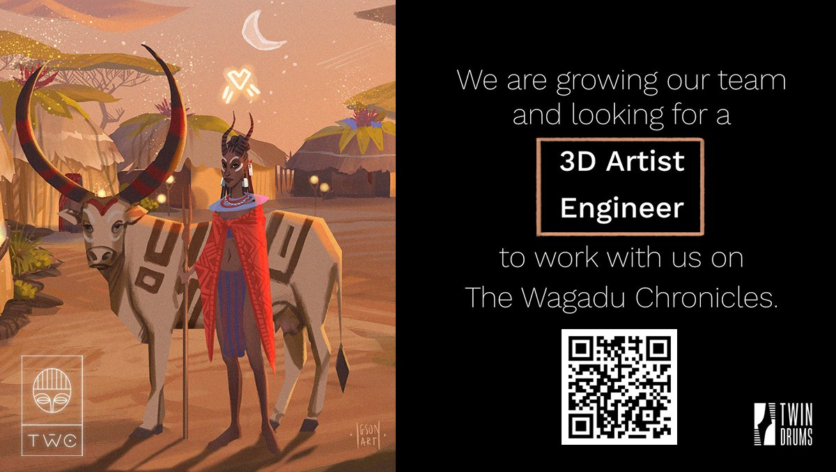 We are hiring! Join the delightful team of @TwinDrums  to work on The Wagadu Chronicles 🖤✨ Remote work is possible 🏡💌 We are looking for: - 3D Artist 🎨 - Programmer 💻 Underrepresented folks are VERY welcome😉 Apply:  #indiedev #hiring #familyfriendly