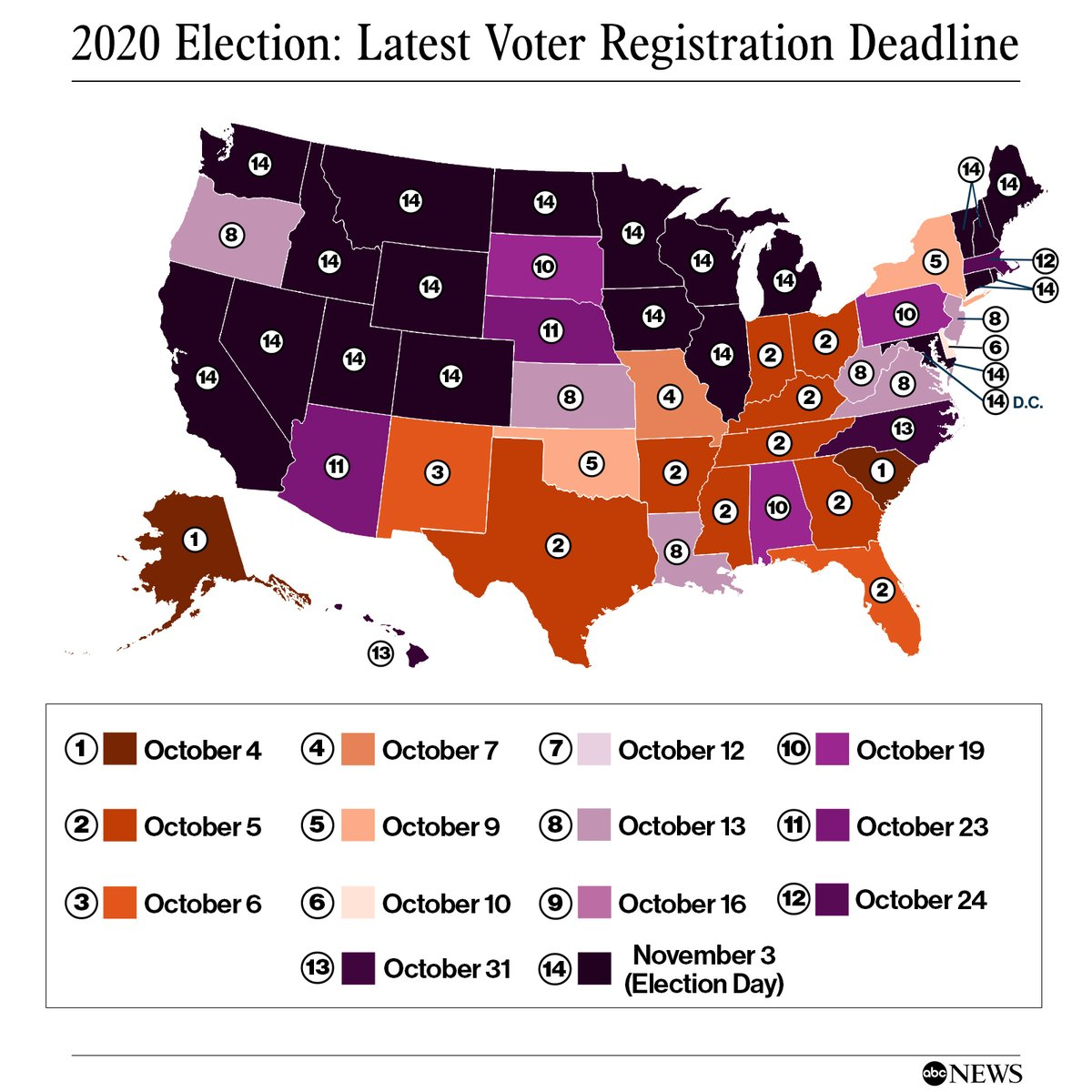 Today is the voter registration deadline for: -Massachusetts  Find your state's voter registration deadline and all the ways you can register to vote here: #Election2020