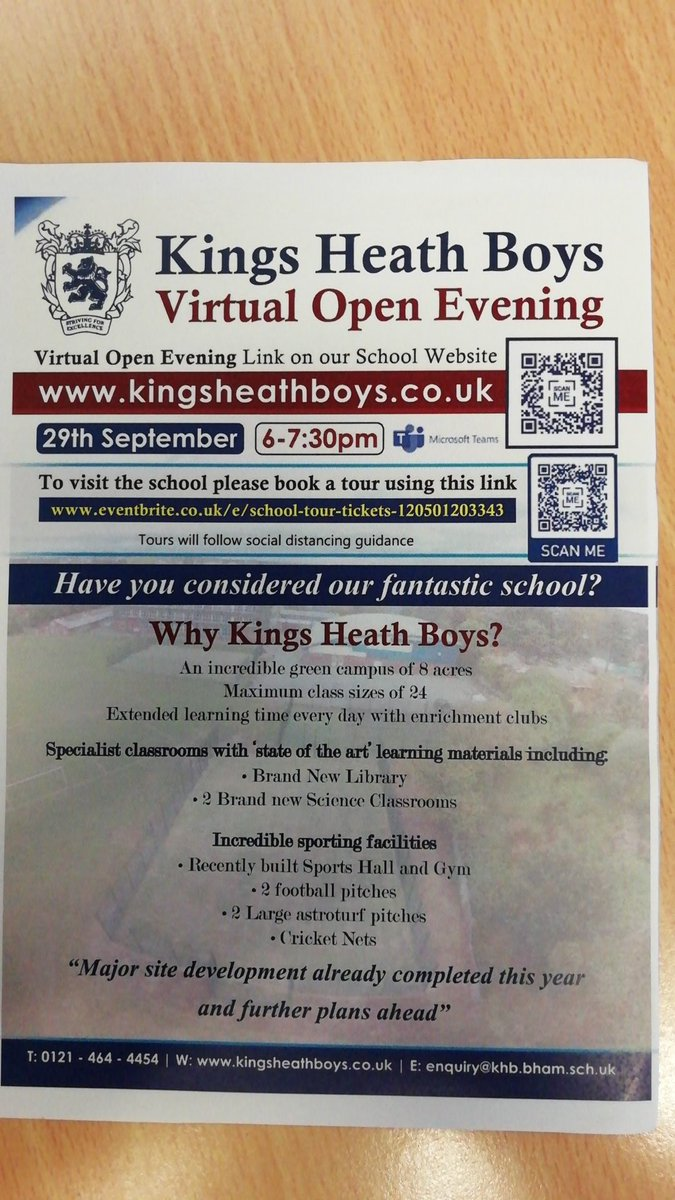 test Twitter Media - Parents of year 5 and 6 boys. King's Heath Boys are having a virtual open evening tonight. Please see the flyer below for details. Sorry for short notice. https://t.co/yt1GS8Y5Pj
