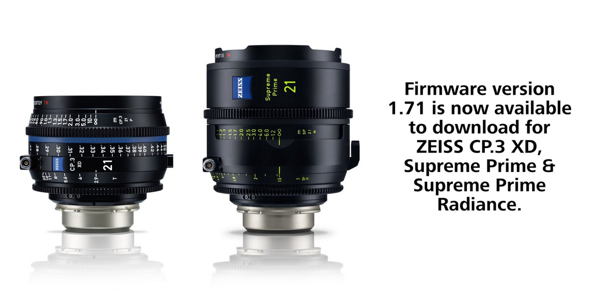 RT @ZEISSCine: Our firmware update (version 1.71) for ZEISS CP.3 XD, Supreme Prime and Supreme Prime Radiance lenses is out now. It improve…