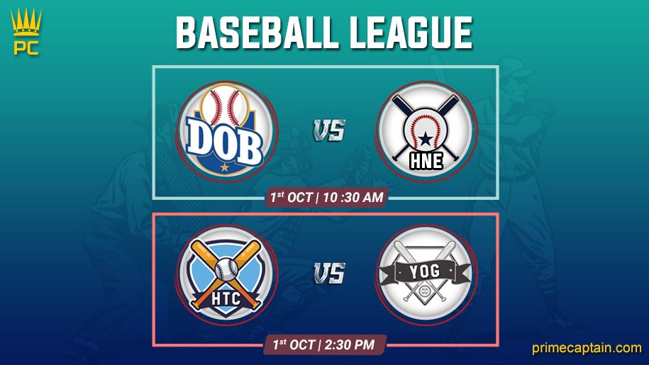 test Twitter Media - 🏆 Baseball League 🏆 DOB vs HNE | 1 OCT | 10 :30 AM HTC vs YOG | 1 OCT | 2:30 PM  Get ready with your team only on PrimeCaptain Download the app here- https://t.co/vq5qurhBWW . . #FantasyBaseball #fantasysports #baseball #PrimeCaptain https://t.co/VyzjPmWTFb