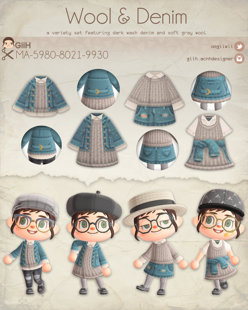 🐑 Wool & Denim Collection 🐑  This collection includes four comfy and stylish designs featuring soft gray wool and dark wash denim in different styles. ♡  #acnhdesigns #animalcrossingdesigns