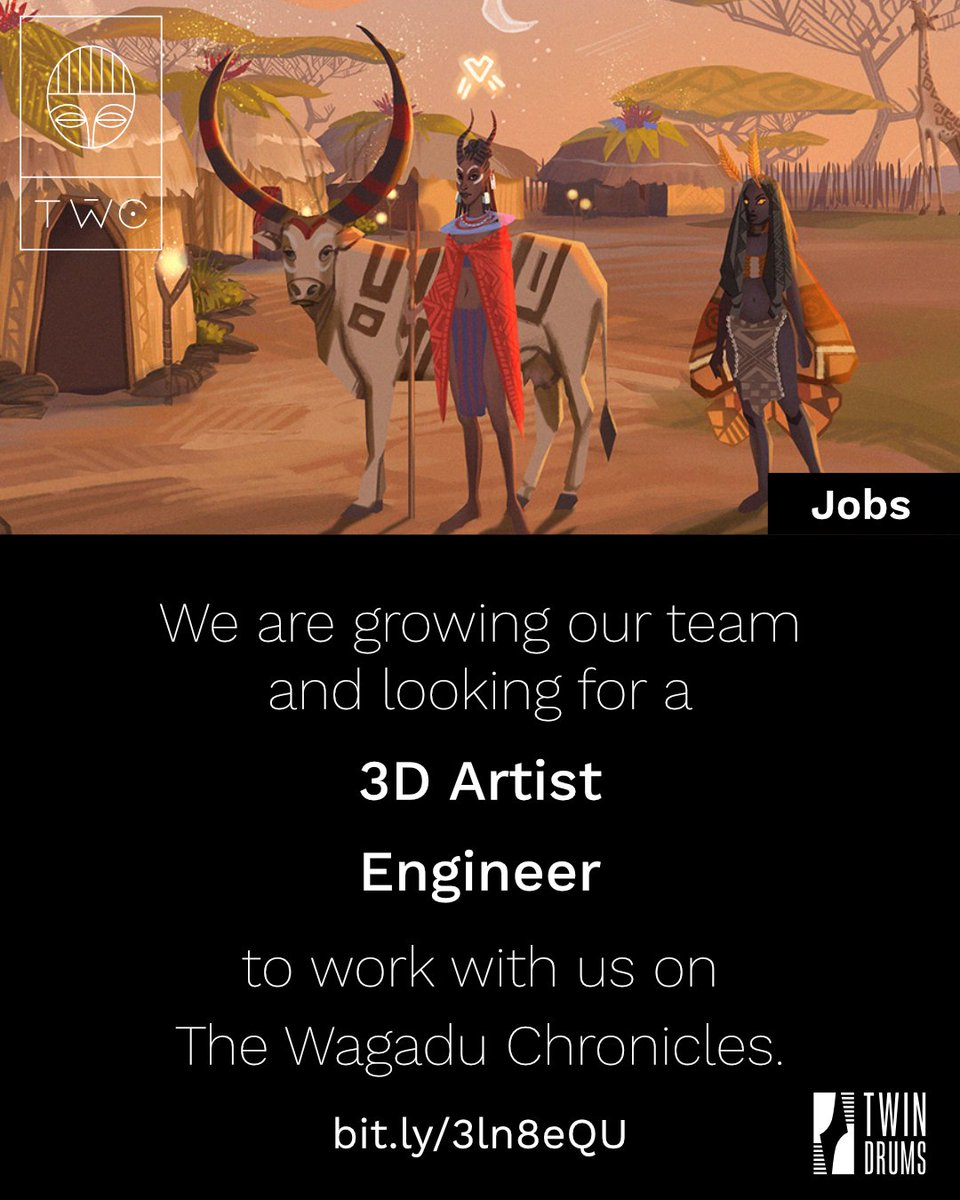 Do you want to join us to work on @WagaduChronicle? This is your chance! 💥🖤 We are looking for an additional: - 3D artist🎨  - Programmer💻  Underrepresented folks are doubly welcome to apply 😉✨ Link to apply: