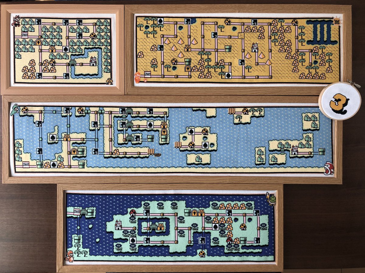 スーパーマリオブラザーズ3  32周年おめでとうございます㊗️ 現在クロスステッチで作成中のマリオ3マップ、出来上がったワールド1〜4を全部載せでお祝いです🗺 右側のロゴの刺繍枠は8cmです  #マリオ #スーパーマリオ3  #任天堂 #Nintendo #8bit_shugei #crossstitch