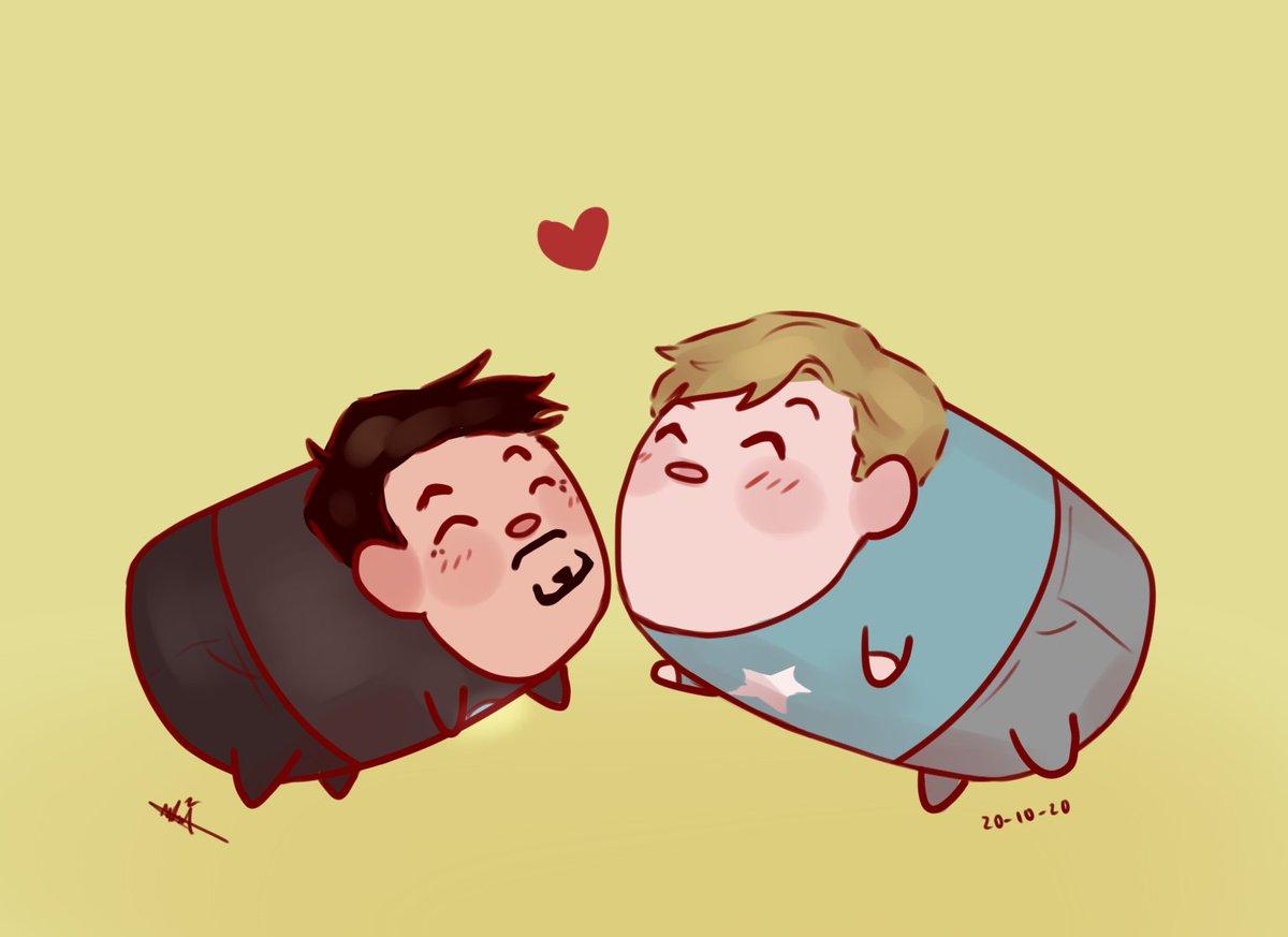 "Anyways, look! they're cute and gay together! 💙❤️ 20 ""Tsum"" #SteveTonytober #Stony #Stevetony"