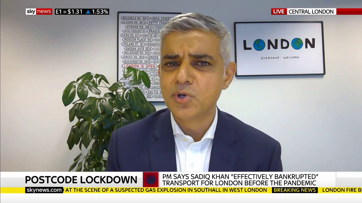 Mayor of London Sadiq Khan says he will not accept an expansion of the congestion charge or an increase in council tax.  Latest on #COVID19: