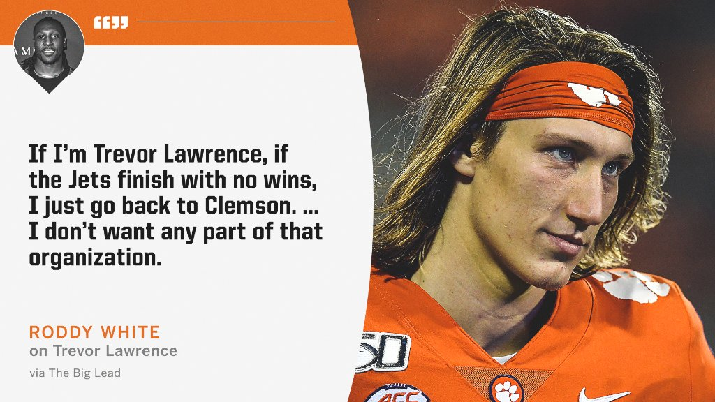 Staying at Clemson another year to avoid the Jets might be Trevor Lawrence's best option, according to @roddywhiteTV