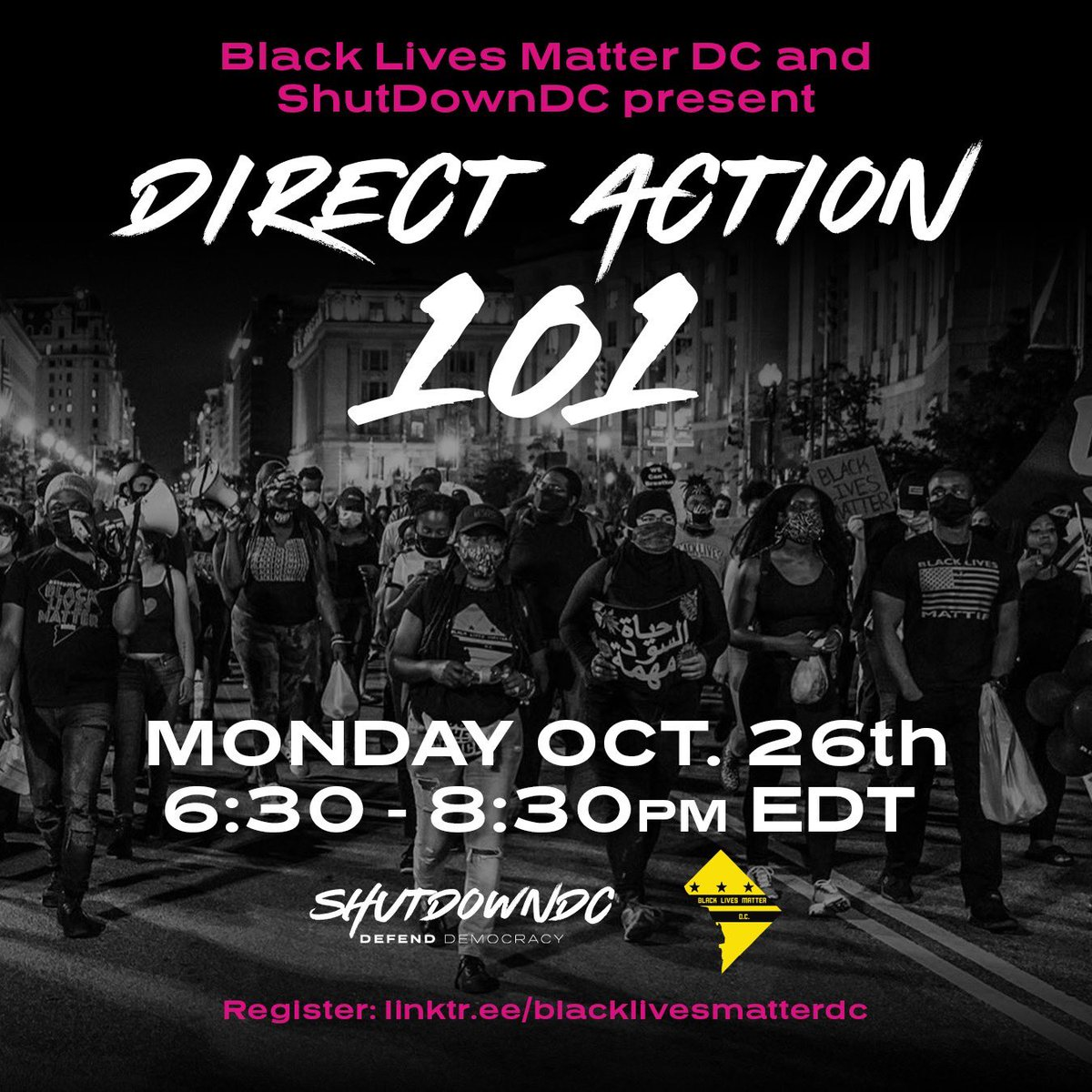 Sign up and get tips on Direct Action 101. Catch us in the streets during the Election time! We stay ready, so we don't have to get ready.! #WeKeepUsSafe #BlackLivesMatter #DefendBlackLives  @shutdowndc_