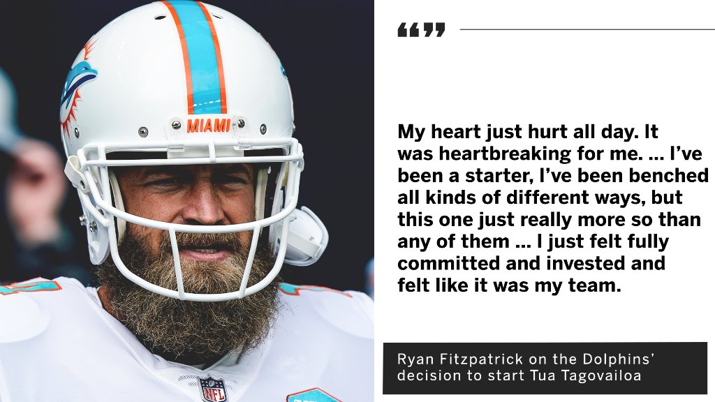 Ryan Fitzpatrick said the Dolphins' decision to start Tua Tagovailoa broke his heart.