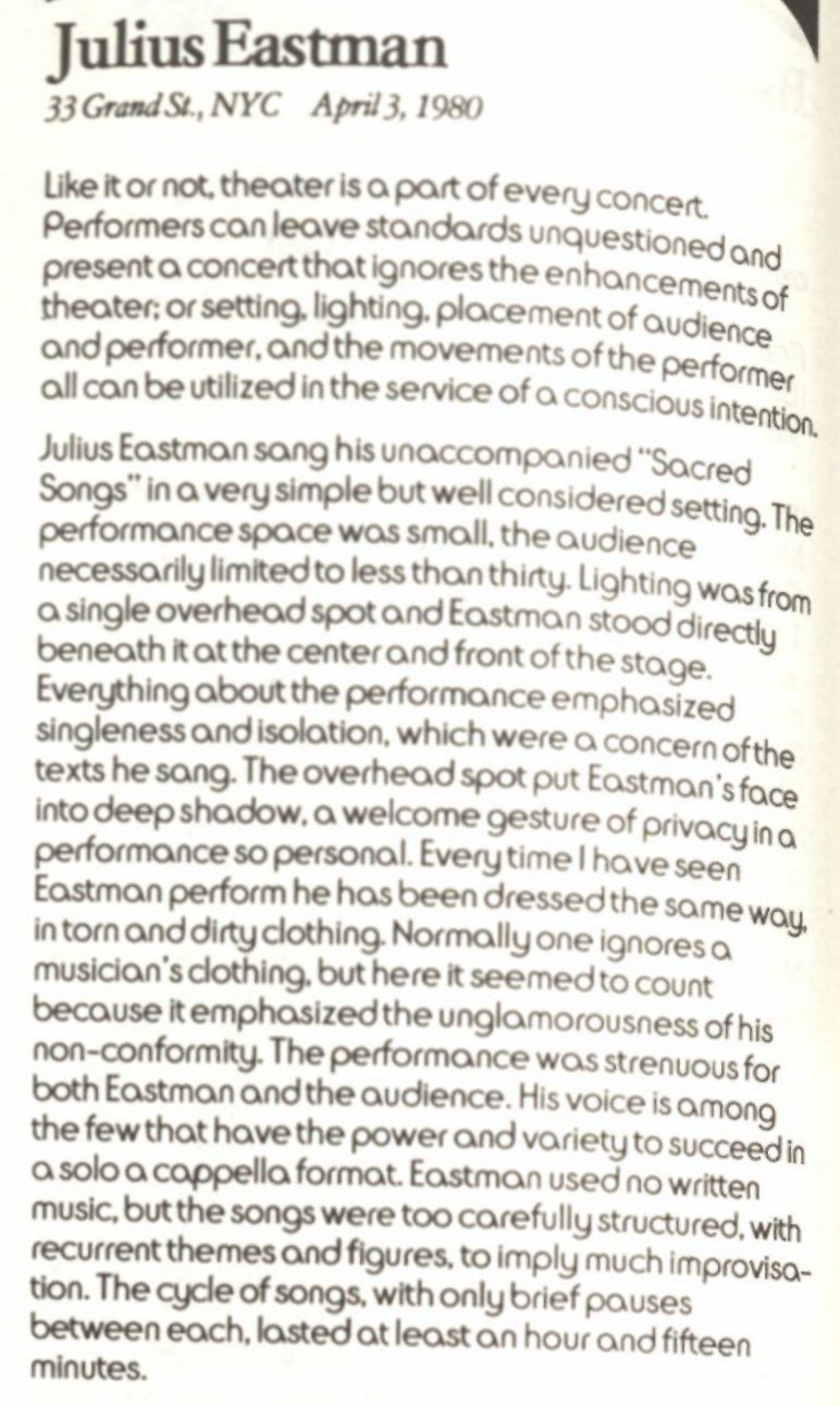 David Garland on Julius Eastman in EAR Magazine, June/July 1980 https://t.co/XSOAOSrZmj