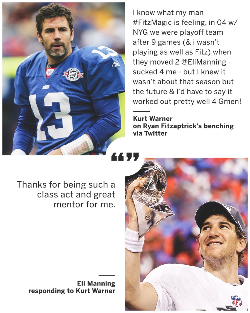 .@kurt13warner offered his perspective on Ryan Fitzpatrick's benching and @EliManning responded 🤝
