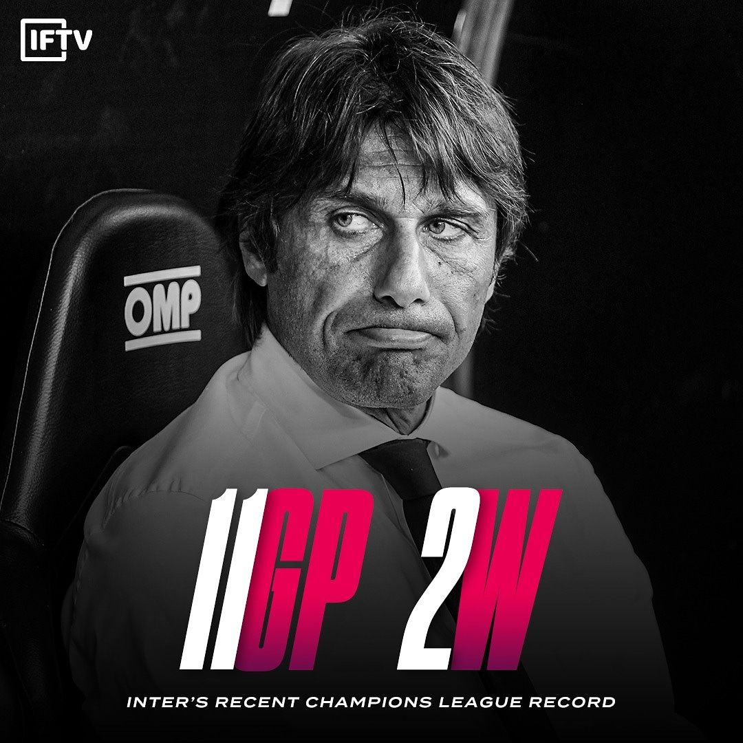 Inter have only won 2 out of their last 11 games playing in the Champions League 😦 https://t.co/pl4xQNB05O