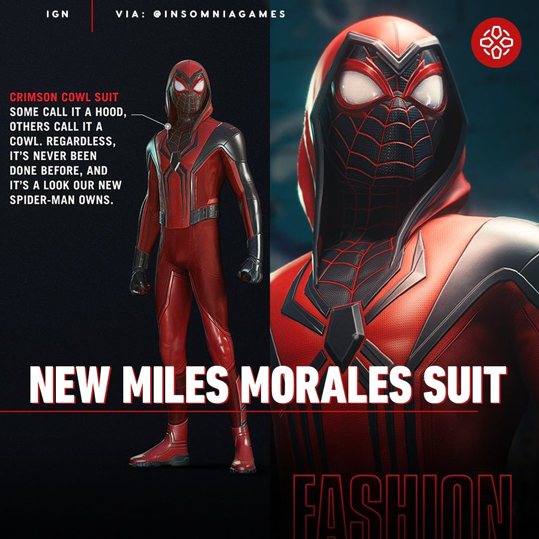 Check out the Crimson Cowl, a new suit for Spider-Man Miles Morales. Thwip.
