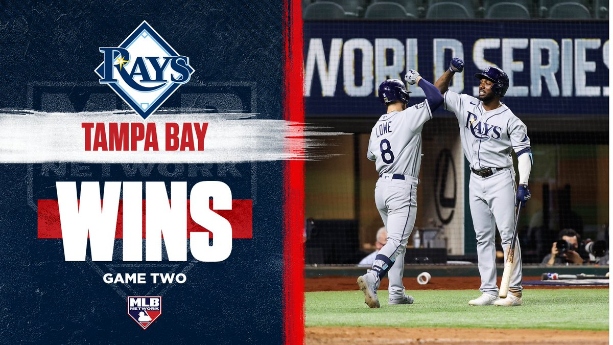 .@RaysBaseball wins Game Two of the #WorldSeries!  Join #MLBTonight for complete coverage, right now!
