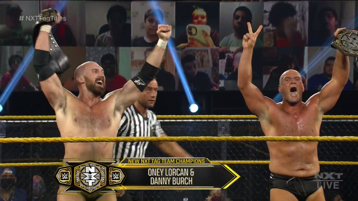 THEY DID IT ONEY LORCAN AND DANNY BURCH ARE YOUR NEW NXT TAG TEAM CHAMPIONS THROW 'EM UP ☝️  #WWENXT #NXTTagTitles #AndNew @ONEYLORCAN @strongstylebrit