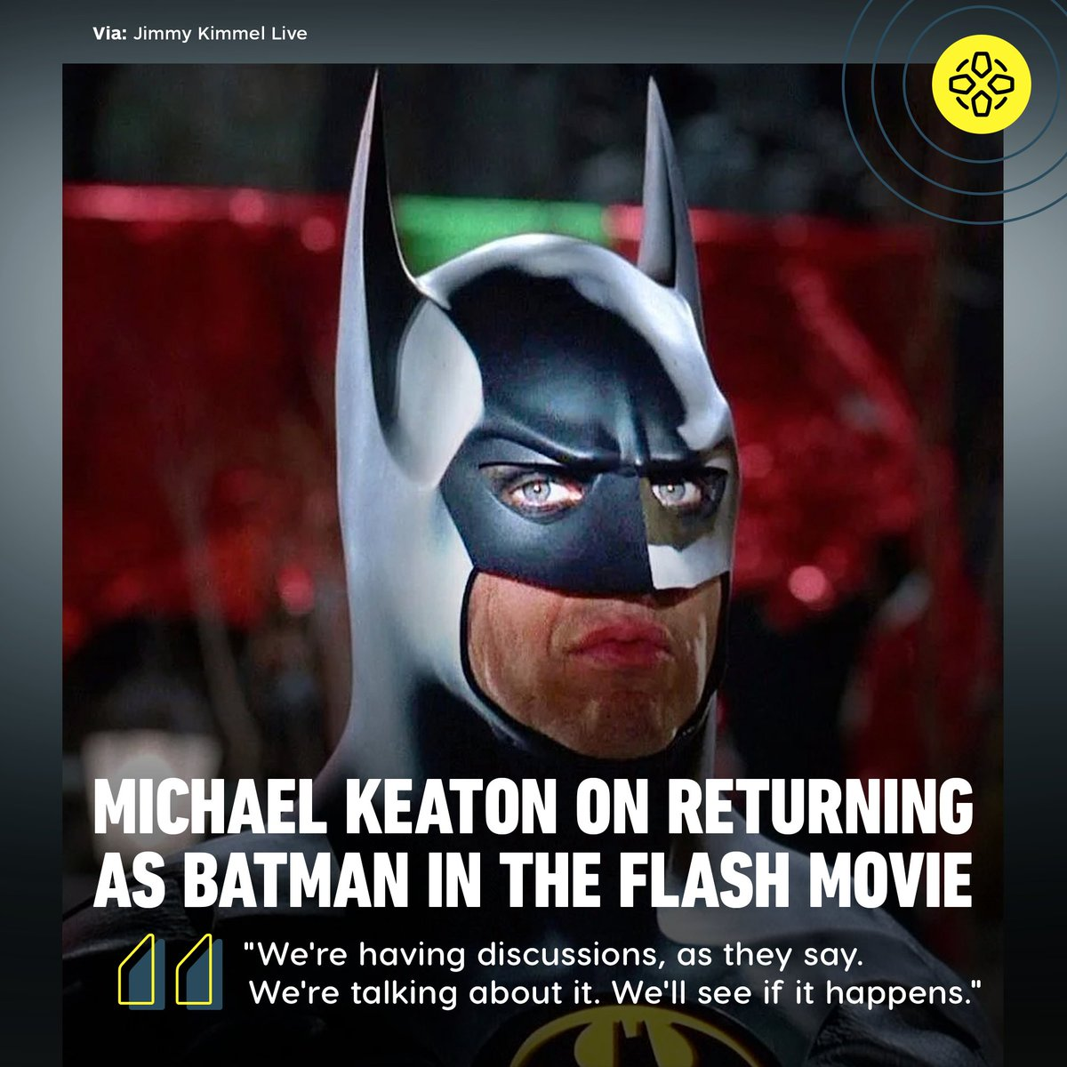 """Is Michael Keaton's Batman suiting up for The Flash? The actor confirms """"discussions"""" are taking place."""