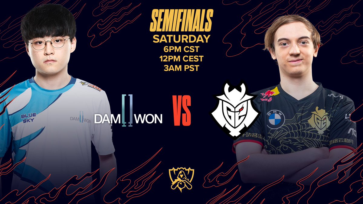 The first #Worlds2020 Semifinal: @DamwonGaming vs @G2esports  Who will advance to the Final: #DWGWIN or #G2WIN?