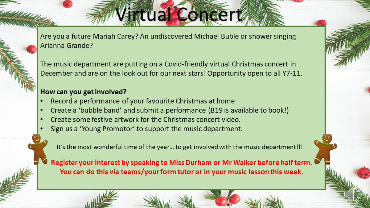 Y7-Y11 register your interest in our Virtual Concert with Miss Durham or Mr Walker!! #Excellence #Pride #Ambition