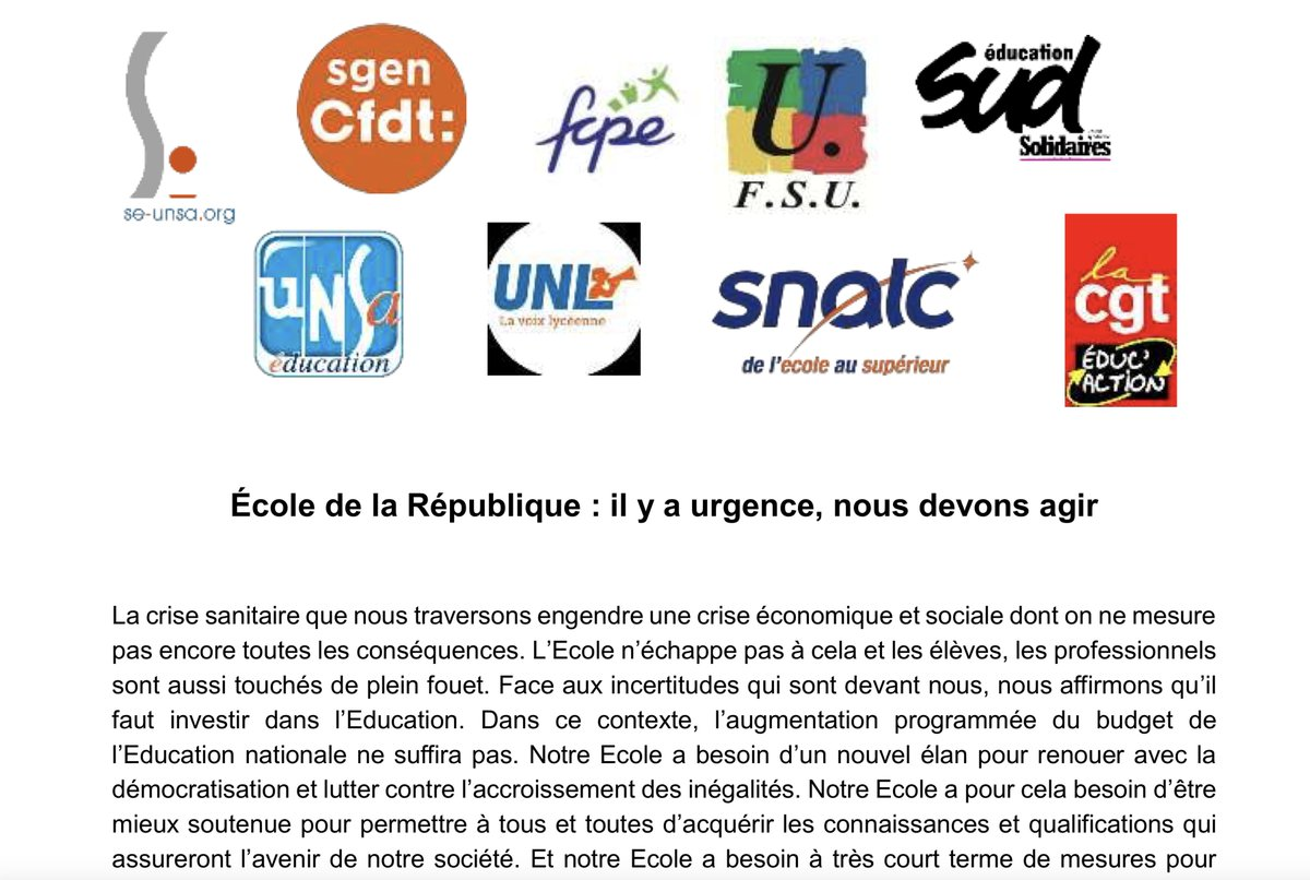 "test Twitter Media - A lire, la lettre commune et ouverte lettre commune et ouverte «Ecole de la République : il y a urgence, nous devons agir !"" #FCPE @SgenCFDT @SE_Unsa @FsuNationale @UNSA_Education @UNLnational @SNALC_National @cgt_educ @SUD_education  https://t.co/AwOEhNGbn5 https://t.co/vPFt7tAs93"