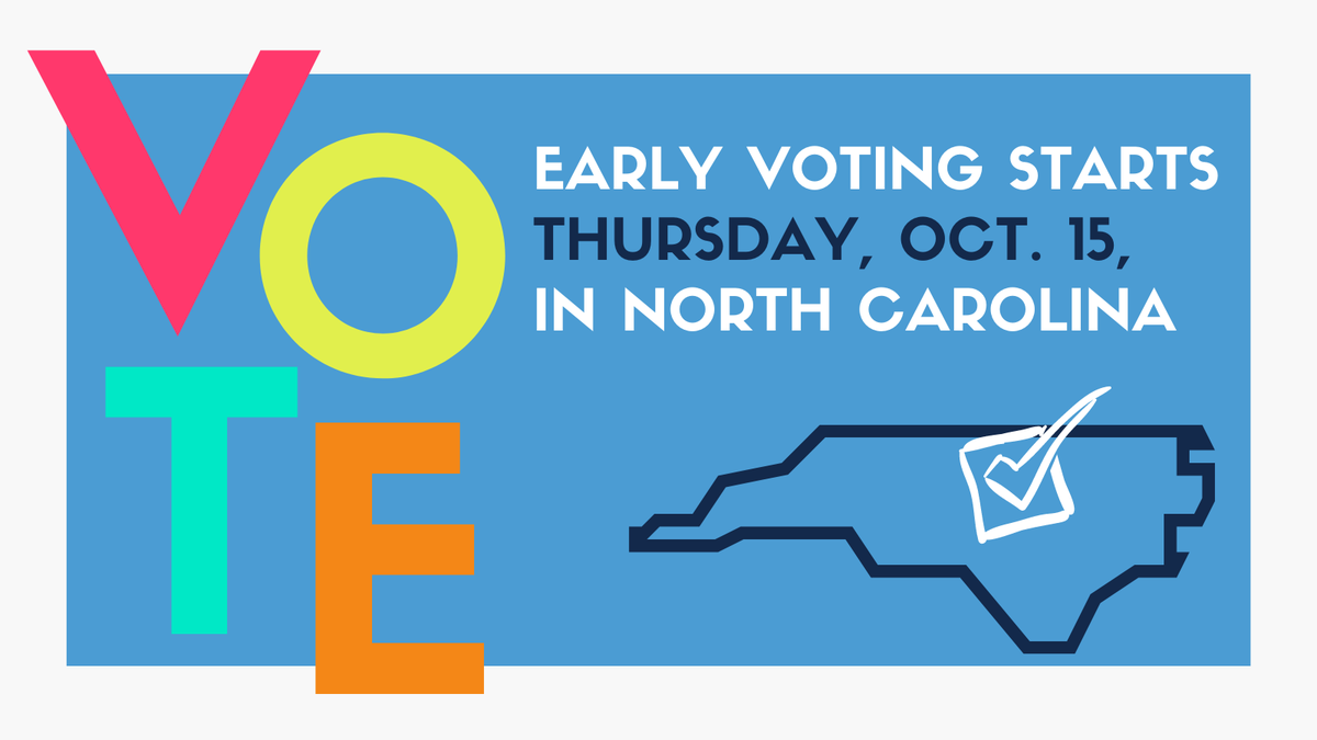 It's time to rock the vote, Tar Heels! 🗳️ One-stop early voting in North Carolina runs today, Oct. 15, through Oct. 31. Cast your ballot early at any voting site in the county where you're registered to vote. Find a location here📍: http://t.co/42pnAFCJzM #UNC #GoHeelsGoV…
