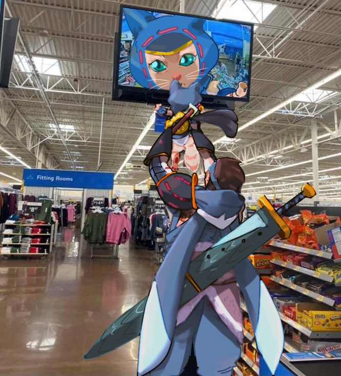 Absolutely losing it over this picture of a Hunter with his palico. Had to do the walmart meme about #MonsterHunter #MonsterHunterRise