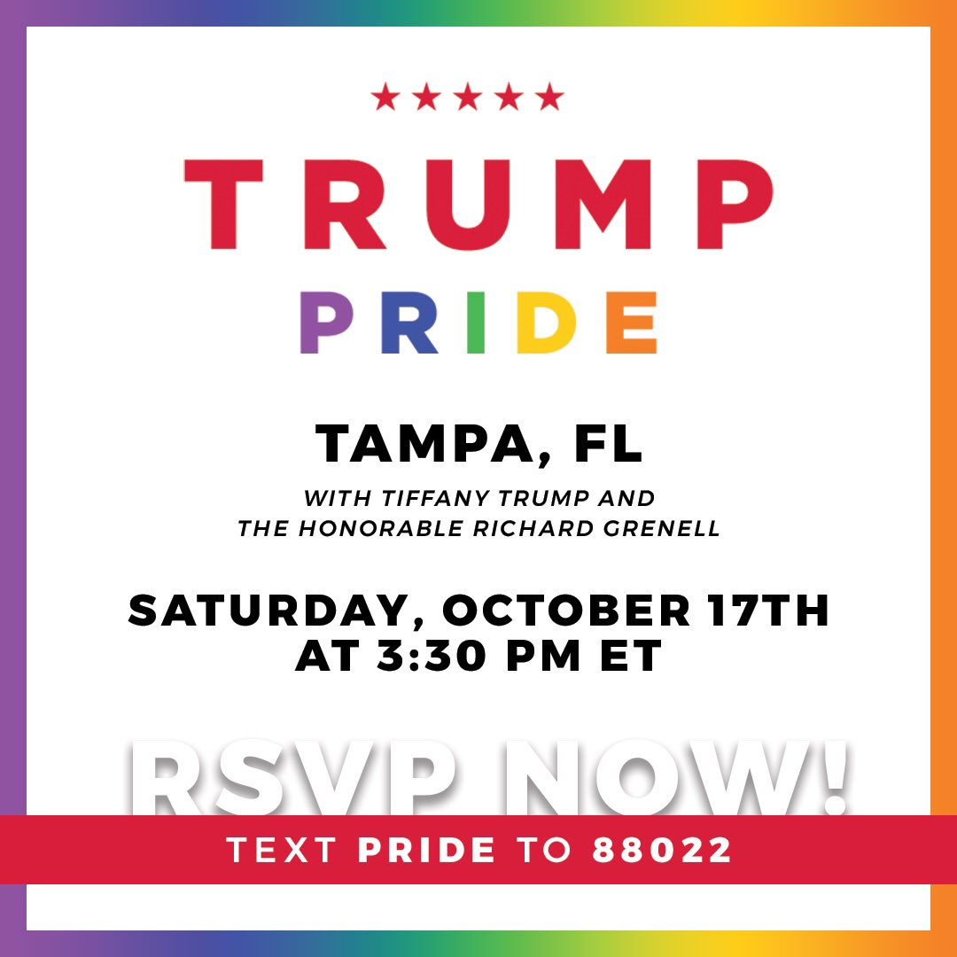 So happy to be hosting this event with @RichardGrenell #Pride #TrumpPride RSVP: