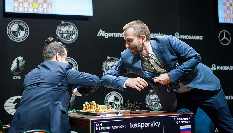 "test Twitter Media - Grischuk says he's willing to play the Candidates ""in a garage, basement, zoo or train station"" but not wearing a mask, undergoing quarantine or staying in a ""bubble""! He thinks FIDE's goal of satisfying all the players is simply impossible:   https://t.co/PYZJDnrPKS   #c24live https://t.co/hIELhlACkO"
